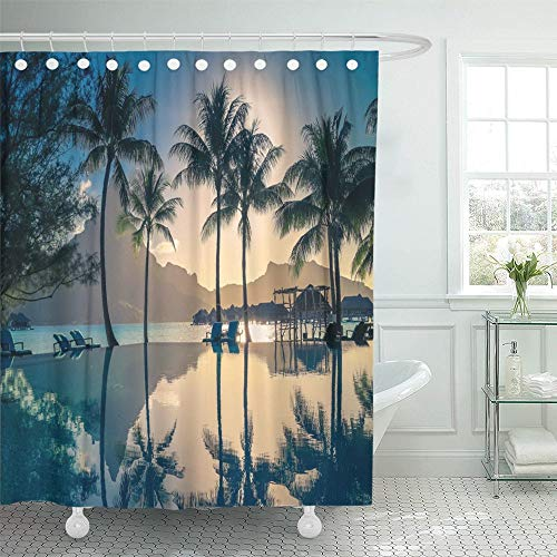 Luancrop Shower Curtain Waterproof Sunset in Bora French Polynesia Palm Trees and Mount Otemanu Reflected The Pool Home Decor Polyester Fabric Adjustable Hook