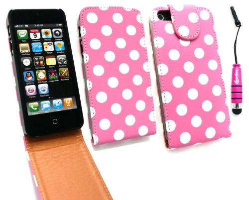 Emartbuy ® Stylus Pack Für Apple Iphone 5 Premium Pu Leder Flip Case / Cover / Tasche Polka Dots Pink / White + Mini Metallic Pink Stylus + Lcd Screen Protector