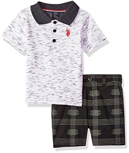 U.S. Polo Assn. Boys' Little Shirt and Short Set, red Logo Multi Plaid, 7