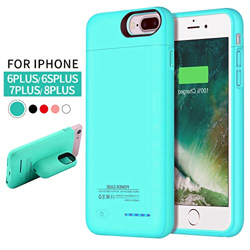 iPhone 8 Plus/ 7 Plus Battery Case, REDGO 4200mAh Magnetic Portable Charging Case Rechargeable Extended Battery Pack for Apple iPhone 8 Plus/7 Plus 5.5 Protective Backup Power Bank Cover, Teal