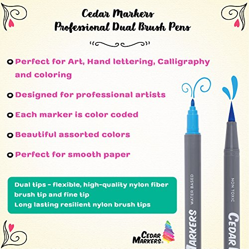 Cedar Markers Dual Brush Pens. 21 Calligraphy Pen Set with Free Hand Lettering Guide Book. Fine Liner and Brush Tip Markers. Colored Pens, Art Pens for Adult Coloring Book and Bullet Journal. (21 XL) by Cedar Markers (Image #4)