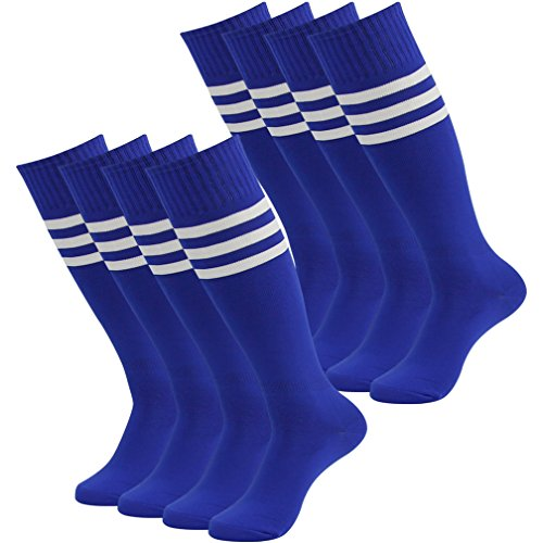 Lightweight Stretch Rugby - Fasoar Unisex High Striped Stretch Rugby Football Sports Hosiery Thanks Giving 8 Pack Blue  8 Pairs  Blue  One Size
