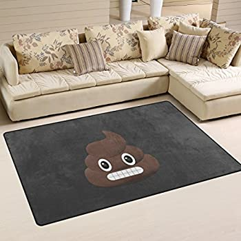 yochoice non slip area rugs home decor stylish funny poop emoji face emoticon floor - Floor Mats For Living Room