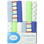 Luvable Friends 12 Pack Washcloths, Blue