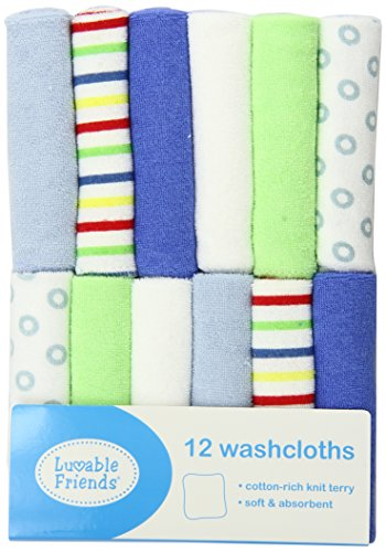 Luvable Friends 12 Pack Washcloths, Blue - Luvable Friends Basic Colors Shopping Results