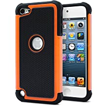 iPod Touch 5 Case, iPod Touch 6 Case, MagicMobile® Hybrid [Dual Armor Series] Durable Impact Resistant [Shockproof] Hard Rugged Plastic + Silicone Skin Protective Case for iPod 5 / 6 [Black - Orange]