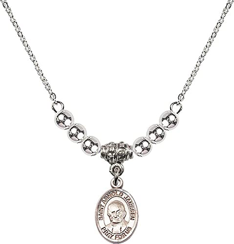 18-Inch Rhodium Plated Necklace with 4mm Rose Birthstone Beads and Sterling Silver Saint Regis Charm.