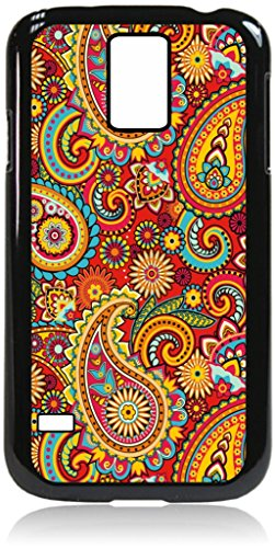 Paisley Pattern Print Design Samsung Galaxy s5 i9600 Universal Black Plastic + Tough Inner Rubber Lining Dual Layer Phone Case Made in the U.S.A.