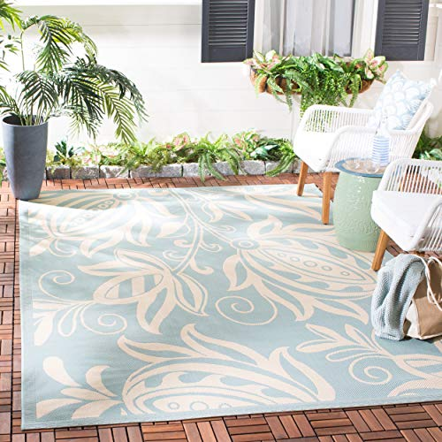 Safavieh Courtyard Collection CY6109-25 Aqua and Cream Indoor/ Outdoor Area Rug (9' x 12')