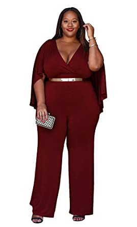 180020b6c1183 Amazon.com  Women s Plus Size Jumpsuit with Attached Flowing Cape in ...