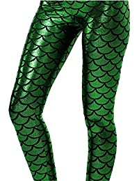 Halloween Shiny Fish Scale Mermaid Leggings for Women...