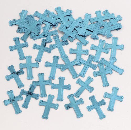 (Blue Embossed Cross Confetti (.5 oz bag))