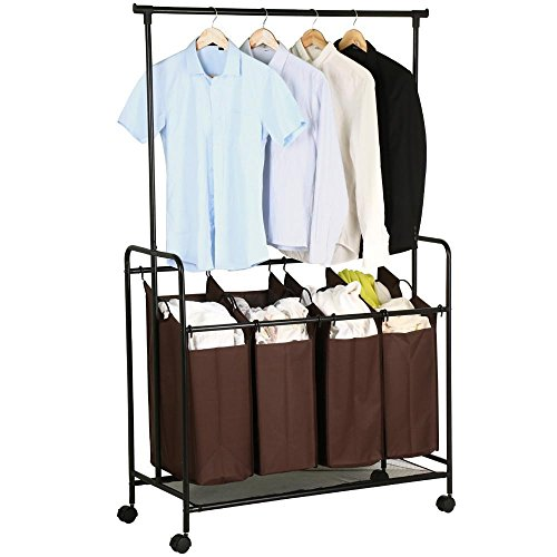 Yaheetech Stylish Brown Rolling Laundry Cart Sorter with Hanging Bar and 4 Storage Removable Bag