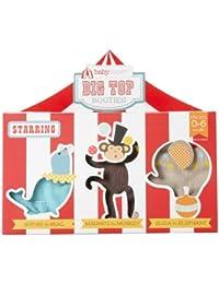 Unisex-baby Newborn Big Top Booties Set Of 3 Circus Themed Socks