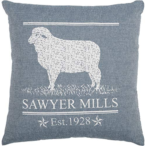 VHC Brands Farmhouse Bedding Sawyer Mill Lamb Cotton Stenciled Chambray Nature Print Square Cover Insert Pillow Denim Blue