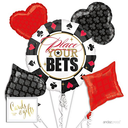 Andaz Press Balloon Bouquet Party Kit with Gold Cards & Gifts Sign, Bingo Casino Night Bunko Cards Party Foil Mylar Balloon Decorations, 1-Set