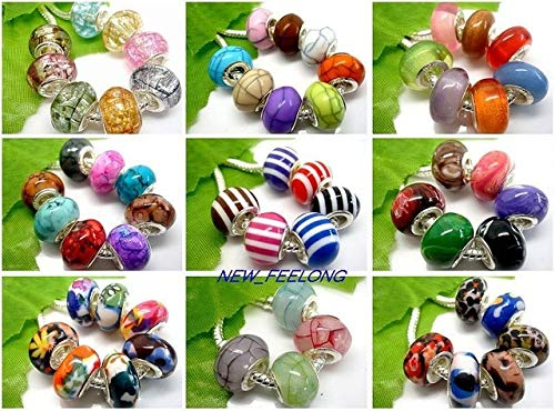 Calvas Wholesale 100PCS/LOT Mixed Beautiful Motley Variety of Resin Beads Fit European PDN Bracelet and Necklace - (Color: Mixed, Item Diameter: 14mm)