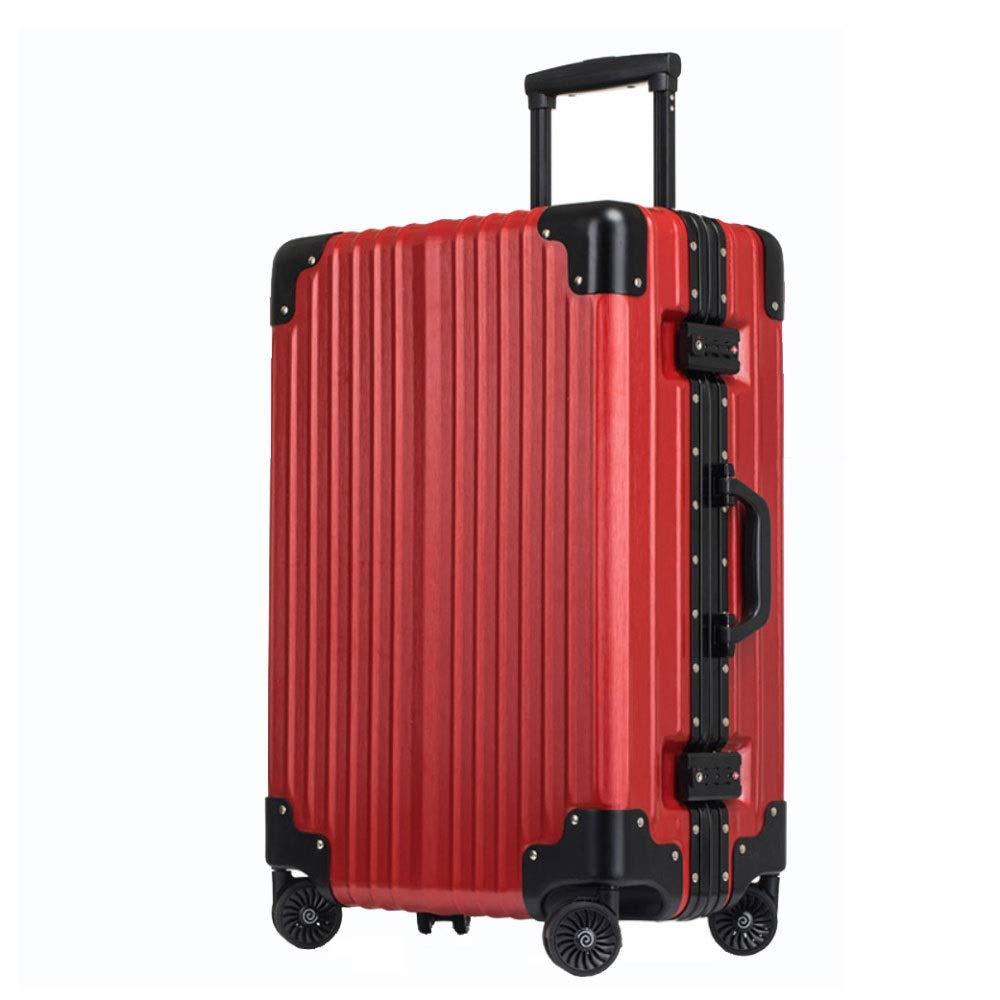 アルミフレームトロリーケースユニバーサルホイール男性と女性のスーツケースチェックビジネス搭乗(20/24/26/29インチ) (Color : 赤, Size : 24 inch)   B07QZRG5PK