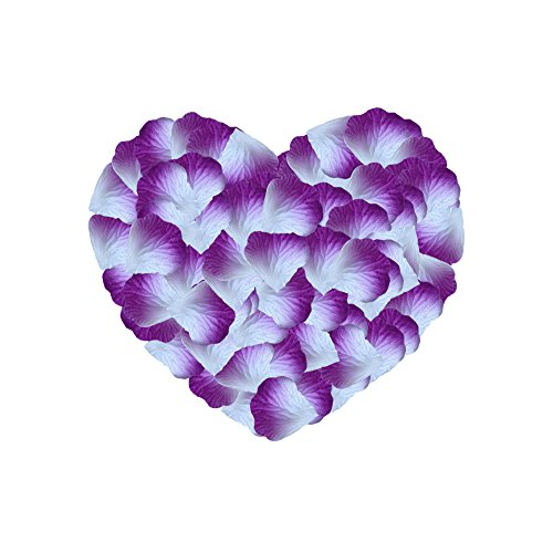 Neo LOONS 1000 Pcs Artificial Silk Rose Petals Decoration Wedding Party Color Purple & White]()