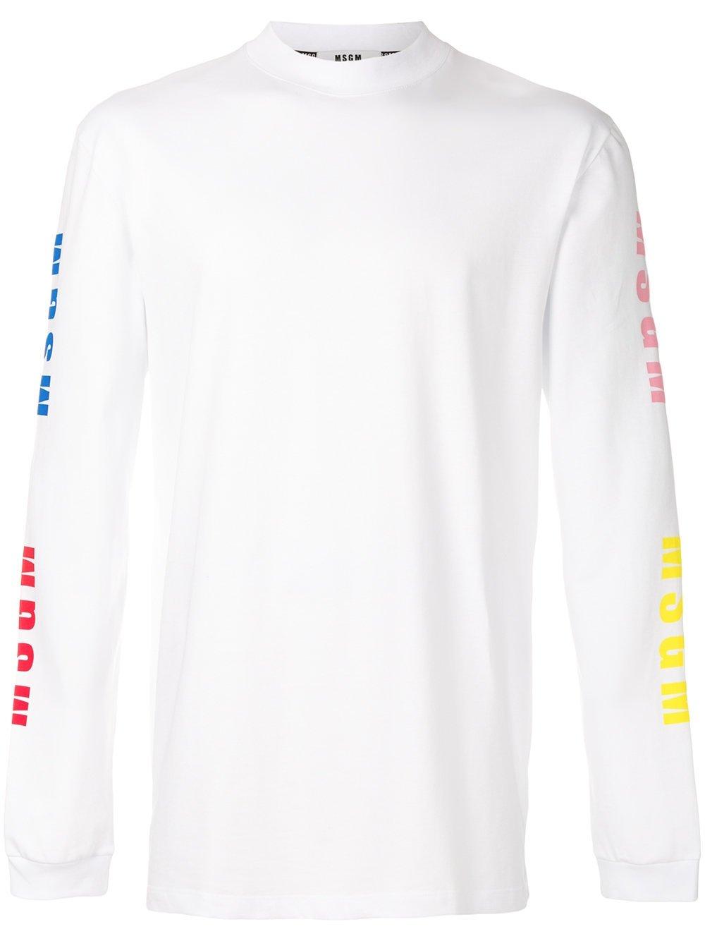 MSGM Men's 2440Mm10318429901 White Cotton Sweatshirt