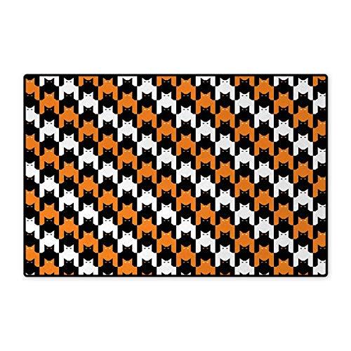 Halloween,Doormat,Digital Style Catstooth Pattern Pixel Spooky Harvest Fashion Illustration,Bath Mats Carpet,Orange Black White 16