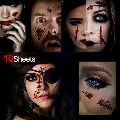 Konsait Halloween Temporary Tattoos(10 Sheets),Halloween Bleeding Wounds Scar Bloody Spider Zombie Vampire Bite Skull Fake Tattoo Sticker for Adult Woman Man, Halloween Party Costume Makeup Props