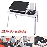 NPLE--Portable Adjustable Foldable Laptop Desk Table Stand Bed Notebook Tray+ Fan VP