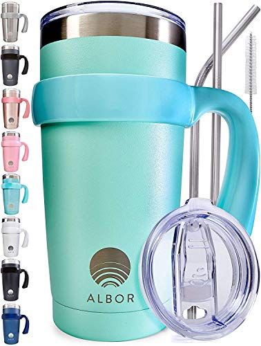 ALBOR Triple Insulated Stainless Steel Tumbler 20 oz Seafoam Coffee