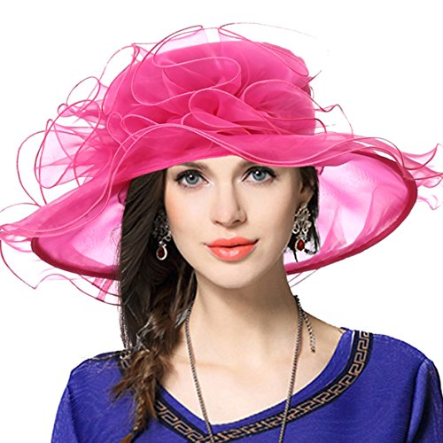 VECRY Women's Church Kentucky Derby Cap British Tea Party Wedding Hat (Rose)