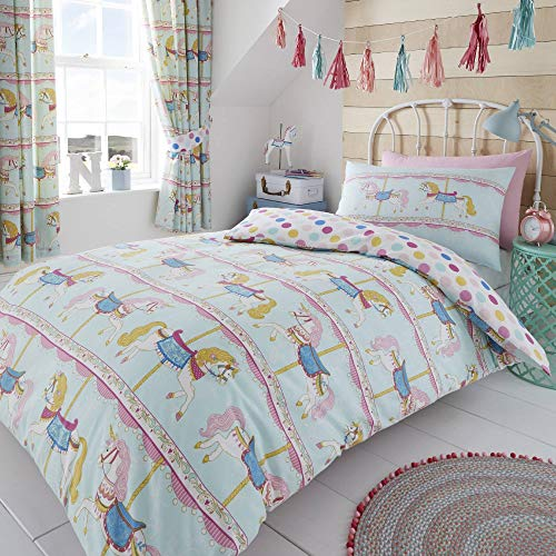 (Happy Linen Company Childrens Girls Vintage Carousel Horse Unicorn Funfair Teal Reversible UK Single/US Twin Bedding Duvet Cover Set)