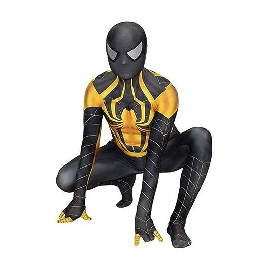 POIUYT Traje De Spiderman Negro Dorado Lycra Jumpsuit Niño ...