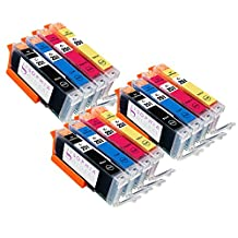 Sophia Global Compatible Ink Cartridge Replacement for Canon CLI-251 (3 Small Black, 3 Cyan, 3 Magenta, 3 Yellow)