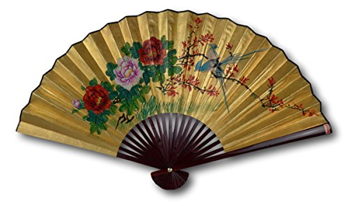 1980s Vintage Classic Large 42-inch Hand-painted Chinese Decorative Wall Fan, Paper Fan, Gold Leaf, Birds, Cherry Blossom, Peony, Japanese Style (2408)