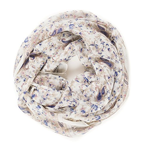 tweight Spring Winter White Paisley Floral Flower Scarves Head Shawl Wraps by Melifluos (NF04-6) (White Floral Scarf)