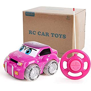 BeebeeRun Pink Remote Control Car Toy,2CH Racer Vehicle for Girls Age 3+