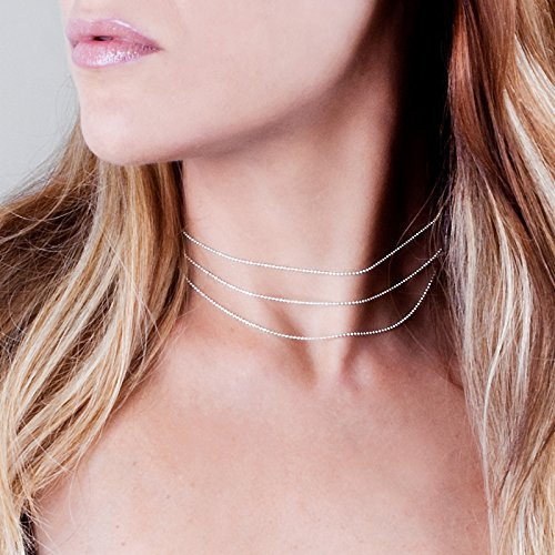 Sterling Silver Layered Choker Necklace - Desinger Handmade Bead Chain Short Necklace - Comes In 1 / 2 / 3 Layers