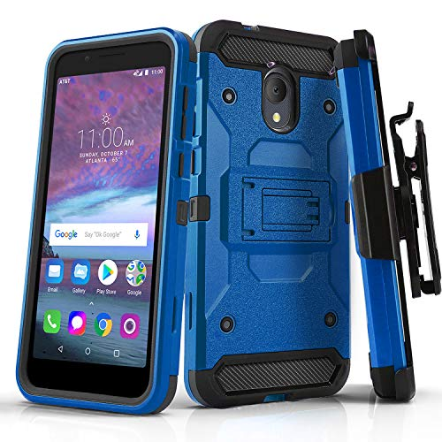 Phone Case for [ALCATEL TCL LX (A502DL)], [Tank Series][Blue] Shockproof  Cover with [Kickstand] & [Belt Clip Holster] for Alcatel TCL LX (Tracfone,