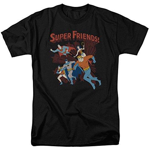 DC Comics Super Friends Running Batman Superman Aquaman Robin Adult Mens T-Shirt