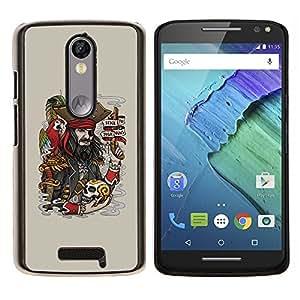 EJOOY---Cubierta de la caja de protección para la piel dura ** Motorola Moto X3 3rd Generation ** --Divertido pirata y cráneo
