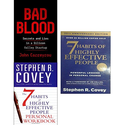 Book cover from Bad blood [hardcover] and 7 habits of highly effective people personal workbook 3 books collection set by John Carreyrou
