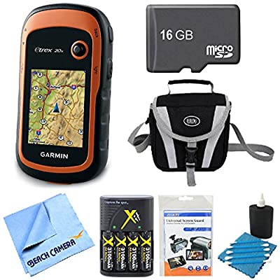 Garmin 010-01508-00 - eTrex 20x Handheld GPS 16GB Micro SD Memory Card Bundle Includes eTrex 20x GPS, Screen Protector 3-Pack, Cleaning Kit, Gadget Bag, AA Batteries and Charger, 16GB Micro SD Card