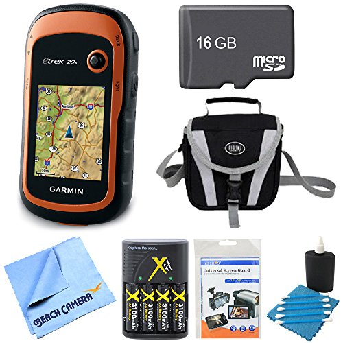 Garmin 010-01508-00 - eTrex 20x Handheld GPS 16GB Micro SD Memory Card Bundle Includes eTrex 20x GPS, Screen Protector 3-Pack, Gadget Bag, Batteries and Charger Kit and Microfiber Cleaning Cloth