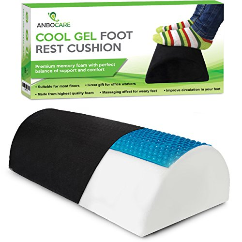 AnboCare Foot Rest Cushion for Under Desk - Premium Footrest Memory Foam Pillow Relive Foot and Knee Pain - Half Moon Bolster Cylinder Design for Optimum Leg Clearance - for Home and Office - Black by AnboCare