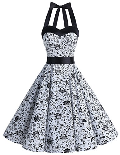DRESSTELLS 50s Retro Halter Rockabilly Polka Dots Audrey Dress Cocktail Dress White Skull XS -