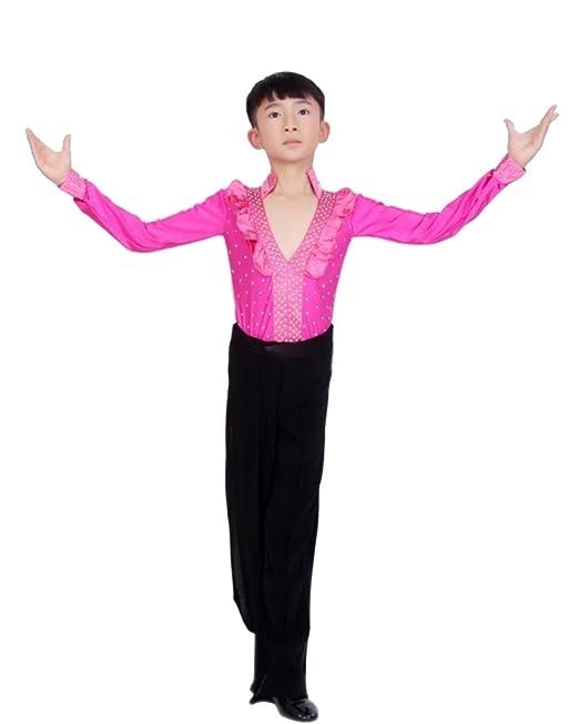 c61a0e4f2 KINDOYO Niños Latín Baile Clásico Camisa Actuación Ropa Escénica Disfraces  Moda Bailando Jazz Trajes  Amazon.es  Ropa y accesorios
