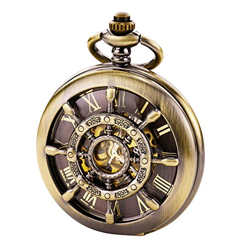 TREEWETO Bronze Double Cover Roman Numerals Dial Skeleton Mens Women Pocket Watch