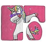 Dance Unicorns Bath Mat Bathroom Carpet Rug Washable Non-Slip 3 Piece Bathroom Mat Set