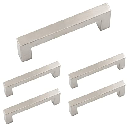 Homdiy Square Cabinet Pulls Brushed Nickel 3 Inch Drawer Pulls Satin Nickel  5 Pack HDJ12SN Modern