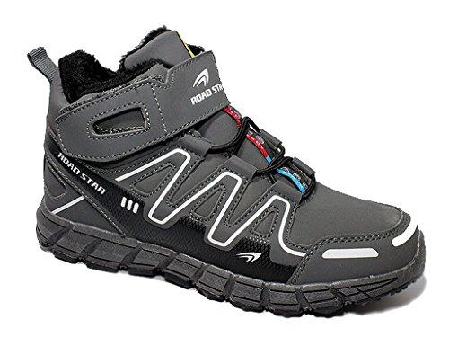 Damen Herren Winterschuhe High-Top Sneaker Warmfutter Winterstiefel Stiefel 36-46 Grau