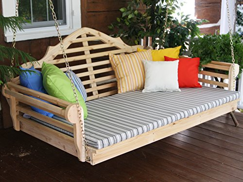 Aspen Tree Interiors BEST PORCH SWING BED, Outdoor Swinging Daybed, Patio Day Bed Swings, Hanging 3 Person Bench, Unique Western Red Cedar Outside Furniture Decor, Unfinished (6 Foot 2